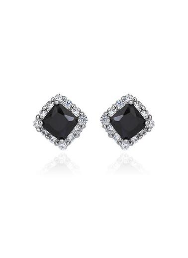 Tophills Diamond Co. 3,40 Ct Pırlanta Efekt  Altın Black Radiant Küpe Renkli
